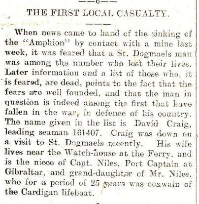 1914 WW1 week 3.4 1st local casualty