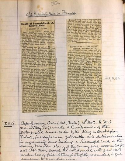 1916 Aberystwyth County School (Ardwyn) 6 - old pupils fallen 3 July sized