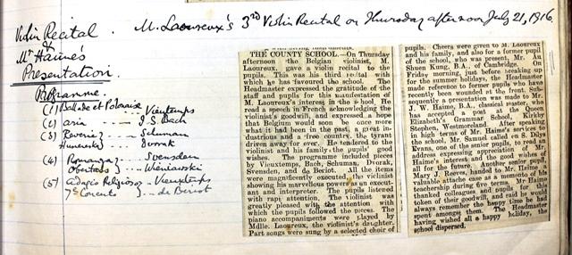 1916 Aberystwyth County School (Ardwyn) 7 viloin recital July 21