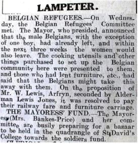 1916 week 101 CN Lampeter and Belgian Refugees
