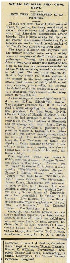 Welsh soldiers and Gwyl Ddewi rez