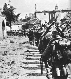 Column of German infantry in Belgium