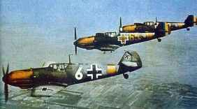 German Bf 109 E together with two Romanian Messerschmitt's