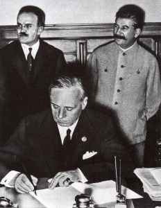 German foreign minister Ribbentrop signs Nazi-Soviet Non-Aggression Pact