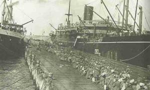 Australian infantry embarking