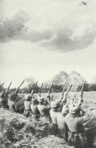 German infantrymen shoot at a Russian plane