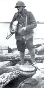 French soldier with Sten gun winter 1944-45