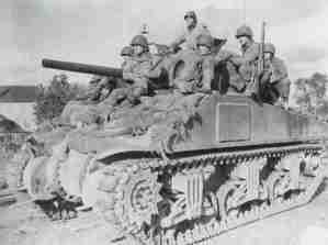 M4 Sherman gives raid to GIs