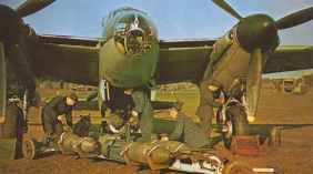 500-pounder bombs going aboard a Mosquito Bomber B.IV
