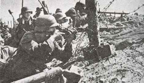German infantry, armed with 98K rifles as well as grenade throwers
