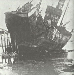 Mine destroyed bow of vessel