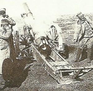 Serbian artillery firing.