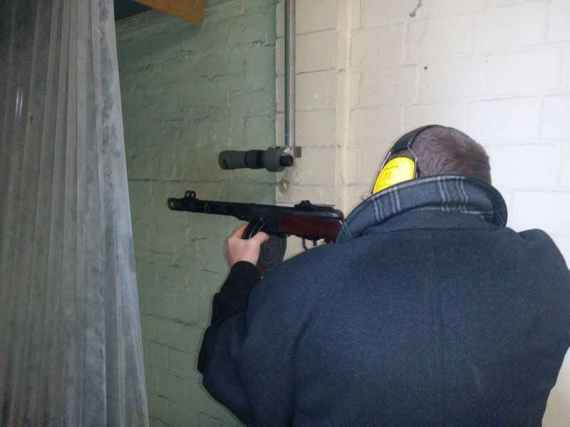 Firing with the PPSh at a shooting range.