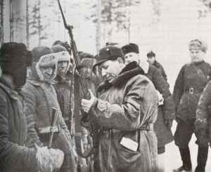 General T.F. Shtykov inspects the weapons of his troops on the Leningrad Front