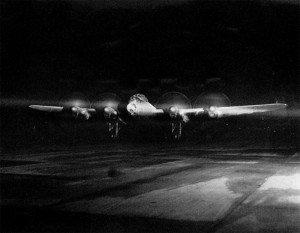 Lancaster before take-off run at night