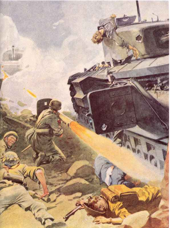 Propaganda painting of the Panzerschreck in action