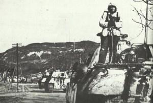 Column of King Tiger tanks