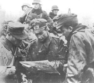 Three platoon leaders of a Panzergrenadier regiment on the Dutch border