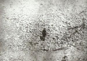 crater left by mine detonation