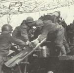 US artillery bombarding German positions