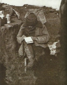 Writing letter in the trenches