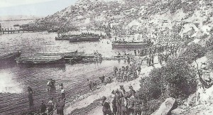 Allied forces are landing on the beach at Gallipoli.