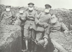 German soldiers wear an early form of gas-mask