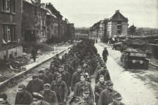 German soldiers marching into captivity