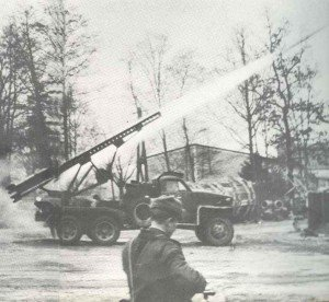 BM-13N Katyusha mounted on a Studebaker US6 chassis launches its M-13 rockets
