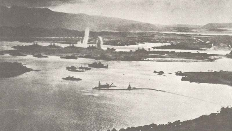 Picture taken from a Japanese pilot during the attack on Pearl Harbor