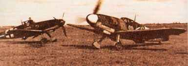 Bf 109 G-2s of II (left) and III/JG 54 'Grünherz'