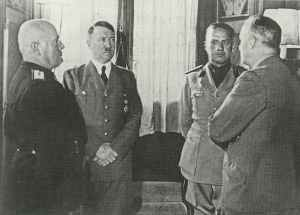 Mussolini, Hitler, Ciano and Ribbentrop