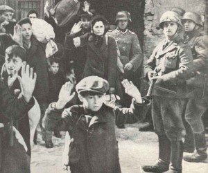 Jews surrendering to SS troops