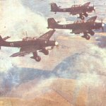 Ju 87 Stukas on the way to a target