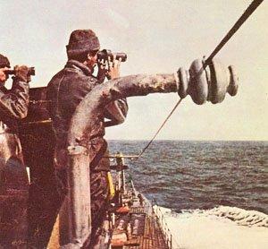 Italian submarine in the Atlantic
