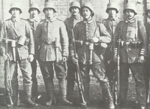 A group belonging to one of the German Guard Grenadier Regiments