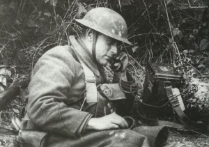 Field telephone used by a US soldier