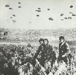 German paratroopers are landing on Crete