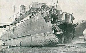 Channel ferry 'Sussex' after torpedoed