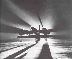 Night start of a German bomber against Britain.