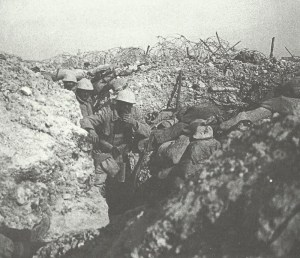 French soldiers shelter in a trench on 'Le Mort Homme