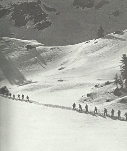 Italian Alpini soldiers on the  march
