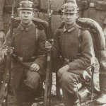Two German soldiers with their Mauser rifles.