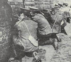 British infantry fire on the Four Courts