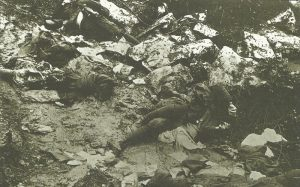 Italian soldiers killed by Austro-Hungarian artillery fire
