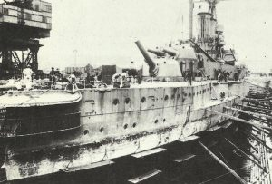 Damaged battleship 'Warspite'