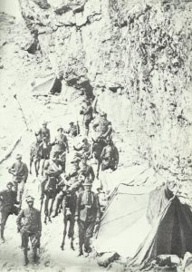 Italian Alpini troops in their camp