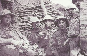 Australian soldiers in a trench in Flanders.