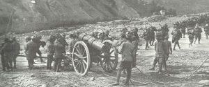 Italian Alpini troops move forward