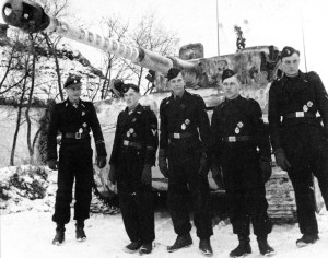 Wittmann with his Tiger and crew